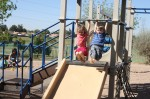 swinging over slide